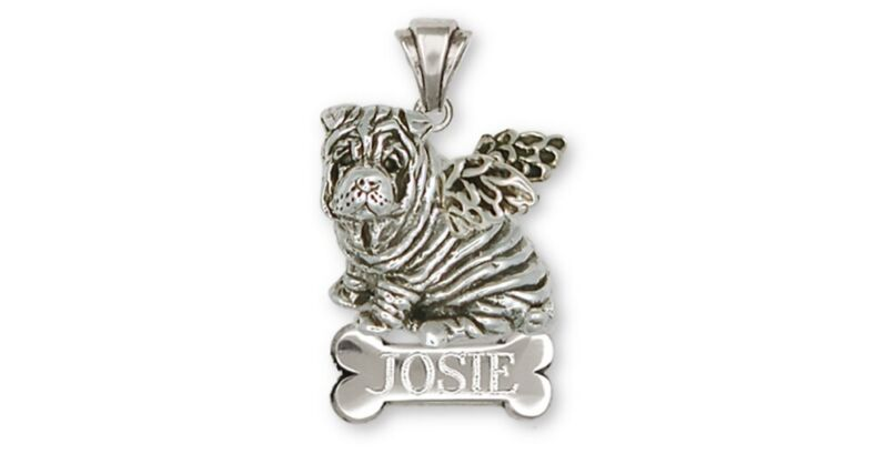 Shar Pei Angel Personalized Pendant Jewelry Sterling Silver Handmade Dog Persona