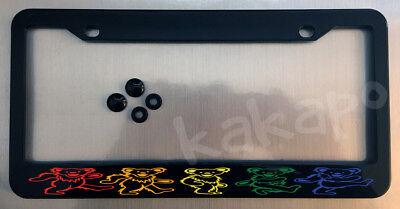 Grateful Dead Dancing Bears Black License Plate Frame + Screw Caps
