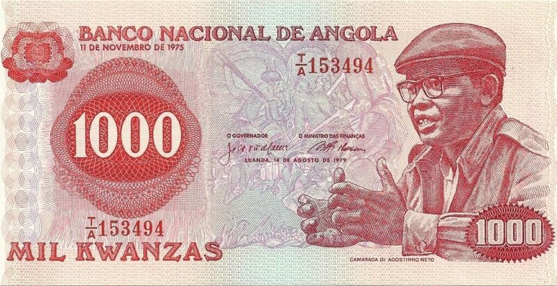 1979 National bank of angola 1000 mil kwanzas curency note paper money africa