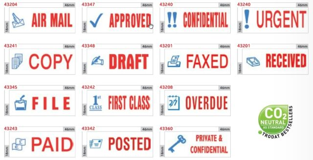 Trodat Office Printy Stamp Self Inking Blue Symbol Red Word Office Supplies