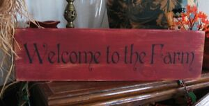 Primitive-Sign-WELCOME-TO-THE-FARM-Wooden-Shabby-Barn-Red