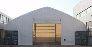 NEW DOUBLE TRUSS PATENTED SEA CONTAINER MOUNTED STORAGE BUILDINGS COVERALL FABRIC SYSTEM FARM HAY MACHINE