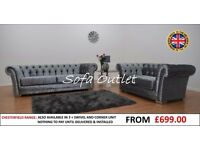 BRAND NEW CHESTERFIELD 3 + 2 SOFA SET SILVER CRUSHED VELVET - FAST FREE U.K DELIVERY