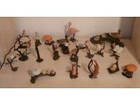 Range of duck, bird, ornaments. Metal bases with animal top. 20 of them
