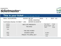 'The Who' concert ticket for the SSE Hydro in Glasgow on Friday 7th of April, 2017.