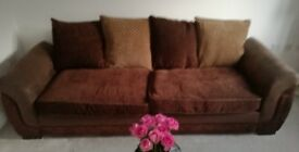 4 SEATER SOFA CHOCOLATE BROWN, EXCELLENT CONDITION , REMOVABLE FABRIC COVERS