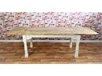 Rustic Extending Farmhouse Dining Kitchen Table Painted F&B- Folding, Ergonomic, Space Saving