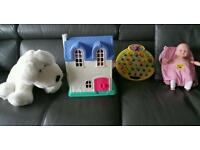 Bundle of toys for little girl dolls house, doll, peppa Pig game and doll carrier