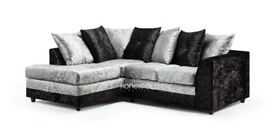 UK Made -Brand new Crush Velvet sofas Padded seats -scater style BACK Fully Puffed Cushions