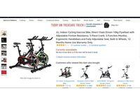 JLL Indoor Exercise Bike, 3-Piece Crank, 5-Function Monitor, Ergonomic Handlebars, Adjustable Seat