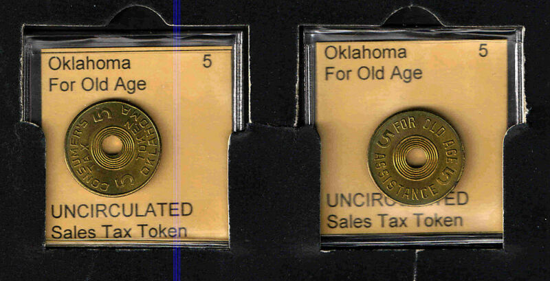 OKLAHOMA 5 Brass OLD AGE TAX TOKEN RECEIPT   UNCIRCULATED