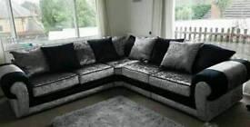 Black and silver glitz corner sofa brand new ready to go
