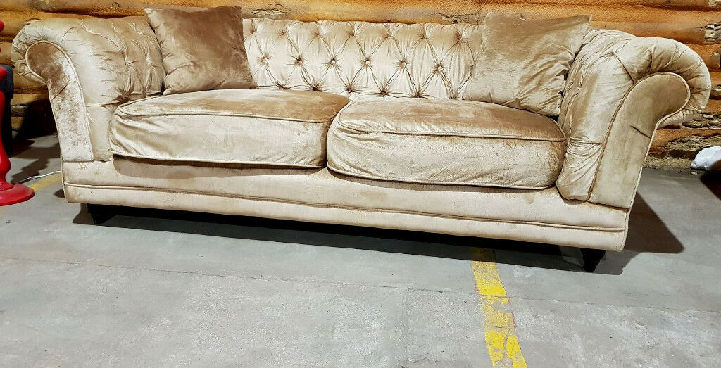Chesterfield 3 Seater Sofa Beige Gold In Colchester Essex Gumtree