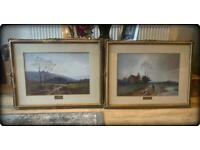 Pair of Large Antique Late 19th Century Watercolour Paintings