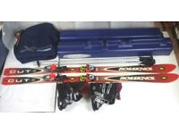 USED SKI PACKAGE -MENS ROSSIGNOL SKIS, POLES & SKI BOX – LADIES SKI BOOTS & BAG