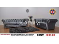 BRAND NEW CHESTERFIELD 3 SEATER & 2 SEATER SOFA SET - FAST FREE U.K DELIVERY