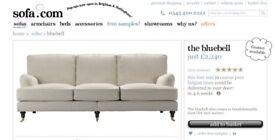 Bluebell Four Seat Sofa in Canvas Beige Belgian Linen