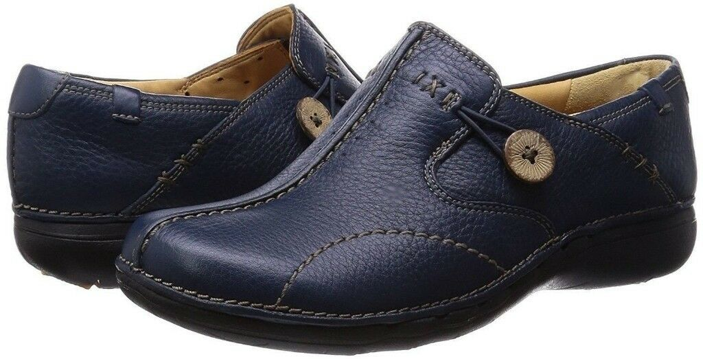NEW Size 4.5 Clarks Un Loop blue leather loafers womens shoes 4 and a half; 37.5