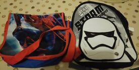 2 Childrens Character Bags, Star Wars and Spiderman