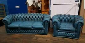 Blue Chesterfield Suite 3 Seater & Club Chair
