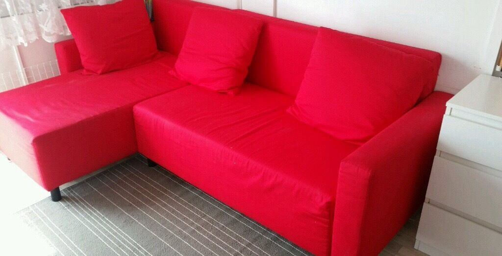 Red ikea corner sofa bed with chaise longue and storage | in ...
