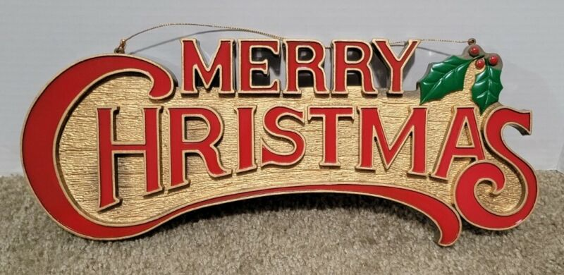 Vintage Merry Christmas Sign Wood Look Plastic Holiday Wall Decor 1970