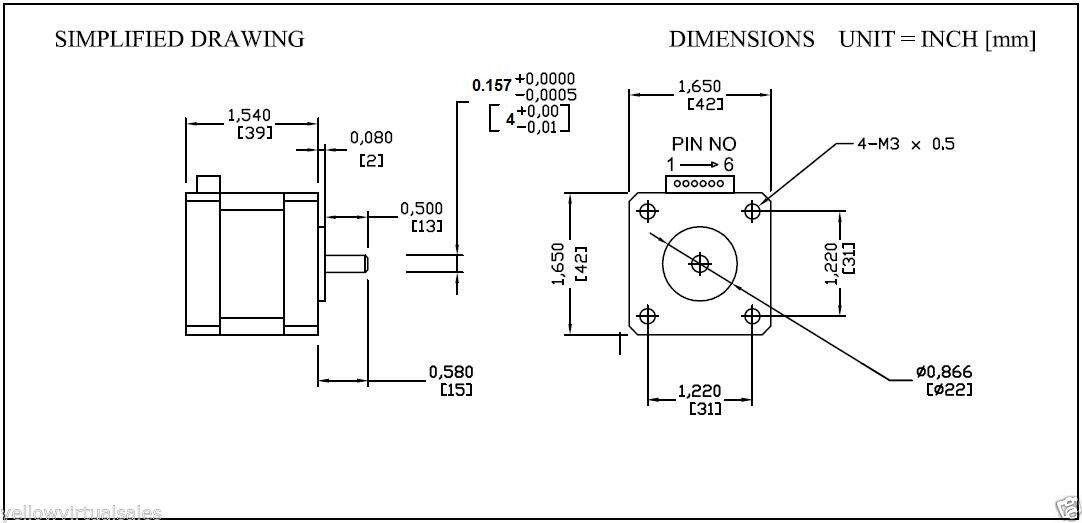 Sanyo denki stepper motor 6 wire wiring sanyo free for Nema 17 motor specs