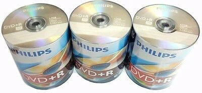 300 PHILIPS Blank DVD+R Plus R Logo Branded 16X 4.7GB Media Disc