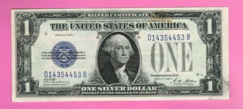 $1 1928 One Dollar US Silver Certificate Old Note Money Blue Seal Bill Currency