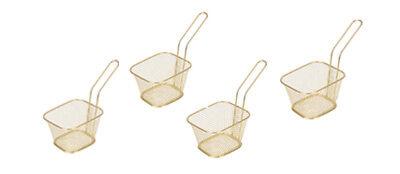 Set of 4 Gold Mini Chip Baskets Mini Fryer Serving Food Presentation Basket