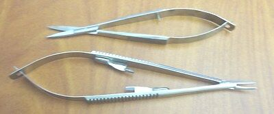 2 Pieces Castroviejo Micro Surgery Scissorsneedle Holder