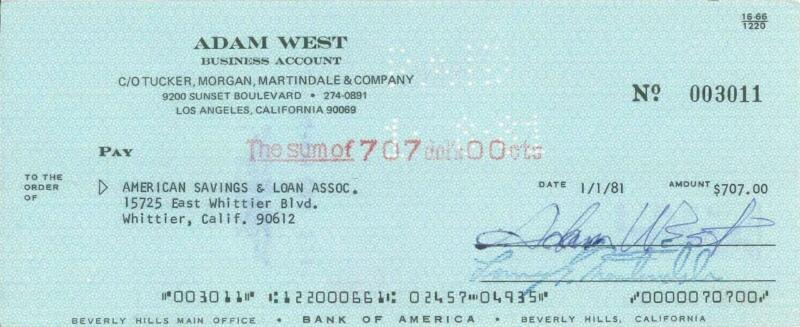 Adam West Signed Check with Free Photo