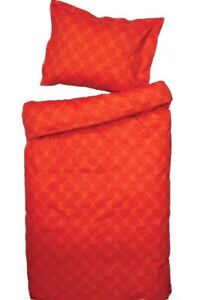 Bedroom Queen Duvet RED-Orange Cover Set, 100% Cotton Satin, NEW