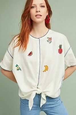Anthropologie Intropia Fruitopia embroidered fruit blouse Asos needlepoint top