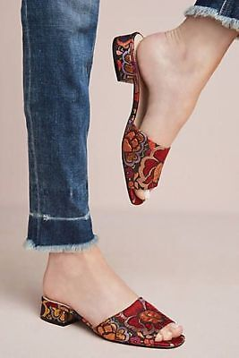 Anthropologie Slides 38 SHELLYS LONDON Brocade Sandals Shoes Floral Fabric NIB