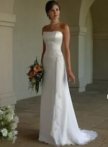 New-Stock-White-Ivory-Chiffon-Wedding-Dress-Bridal-Gown-Size-6-8-10-12-14-16-18