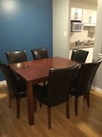 7 Piece Dining Room Table Set with Leaf