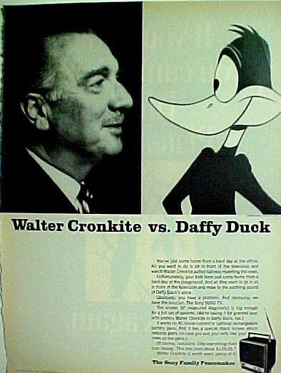 Daffy Duck~Walter Cronkite Warner Bros Cartoon~Comic Ad
