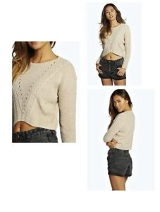 Boohoo - Cable open stitch crop jumper (Brand New)