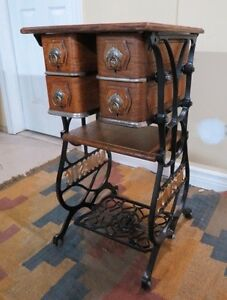 Accent Table: made from Antique Treadle Sewing Table