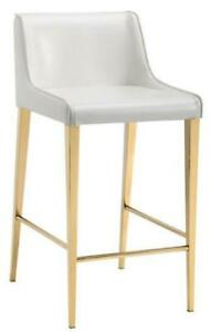 3 - Gold Leg Kitchen Counter Stools in Cream Leather on SALE