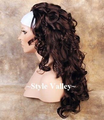 DARK AUBURN 3/4 Fall Hairpiece LONG Curly Half Wig Hair Piece STUNNING COLOR!