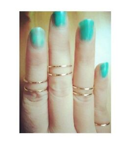 5PCS/Set Korea Urban Gold stack Plain Cute Above Knuckle Ring Band Midi Rings