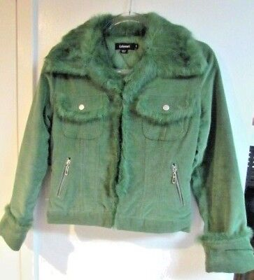 Used, Ladies Fur trimmed Corduroy Jacket, SMALL, Cotton, KELLY GREEN, quilt lined for sale  Lynbrook