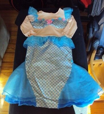 mermaid costume 3T toddler girl blue shiny ruffles one-piece pre~owned Halloween](Toddler Mermaid Halloween Costume)