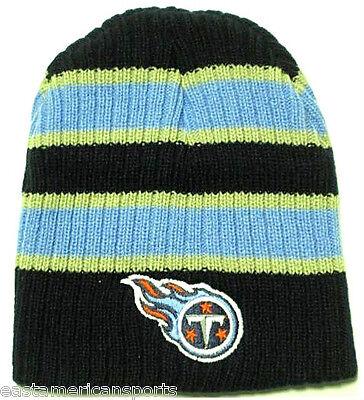 Tennessee Titans NFL Double Wide Strip Knit Hat Cap Blue Snow Ski Winter Beanie Wide Stripe Beanie