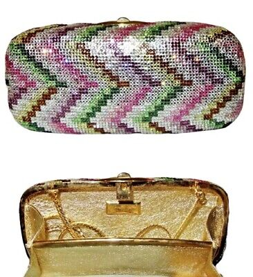 RARE Judith Leiber Chevron Zigzag Pink Swarovski Crystal Miniaudiere Clutch