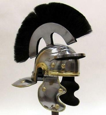 ROMAN LEGIONAIRE Soldier Centurion Steel HELMET ARMOR with BLACK PLUME New