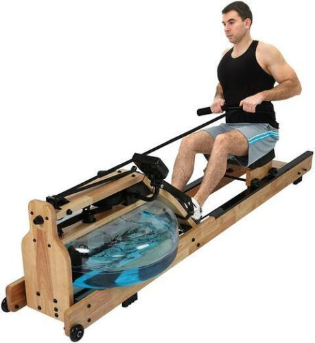 Luckyermore Water Rower Rowing Machine Resistance Fitness LCD Monitor Exercise