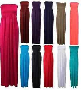 Womens-Strapless-Summer-Maxi-Dress-Ladies-Long-Jersey-Dress-Size-8-10-12-14